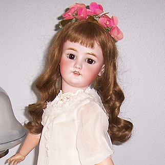 "ON SALE 26"" Antique German Bisque Head Doll. Marked CM Bergmann Simon & Halbig. Beautifully dressed. Display Ready"