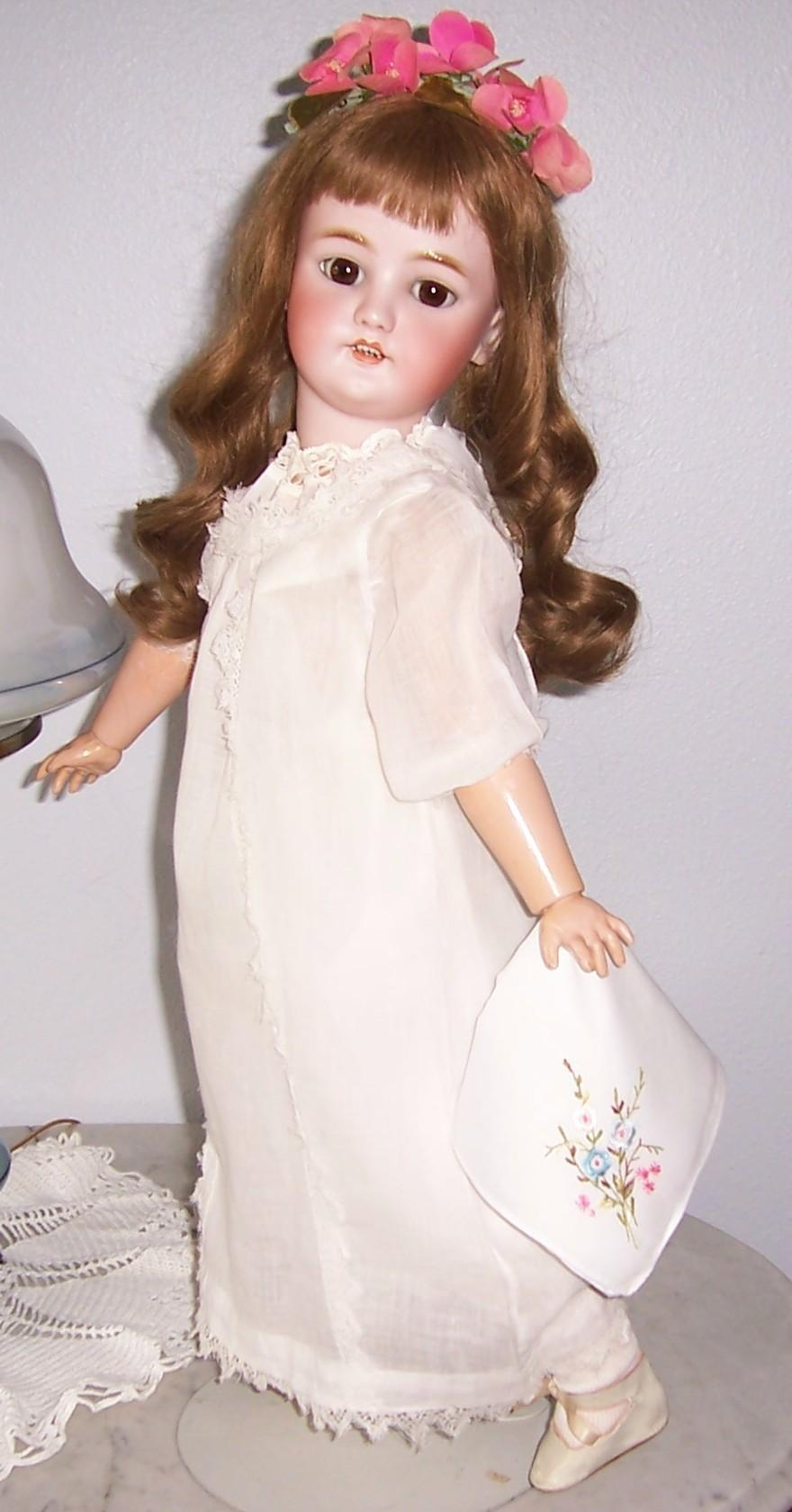 "26"" Antique German Bisque Head Doll. Marked CM Bergmann Simon & Halbig. Beautifully dressed. Display Ready"