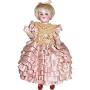 """Rare All Bisque Yellow Stockings Antique Doll by Bruno Schmidt Germany. 6 1/2"""" FABULOUS Original Dress"""