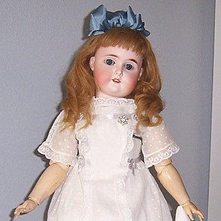 """25"""" Antique German Bisque Head Doll 'Special'  by Adolf Wislizenus. Beautifully Dressed. Display Ready."""
