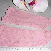 Antique Open Weave Pink Socks for French Jumeau or German Bisque Head Dolls.