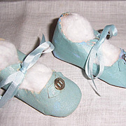 "Lovely Pair of Doll Shoes. Aqua Blue Oil Cloth. 3"" x 1 1/4"" Circa 1930s"