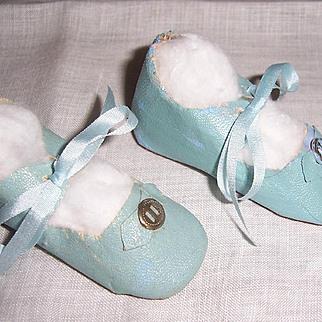 "Lovely Pair of Doll Shoes. Aqua Blue Oil Cloth. 3"" x 1 1/4"" Circa 1930s"