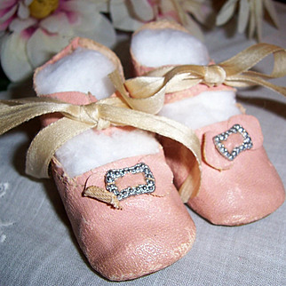 "ON SALE Lovely Antique Pink Oil Cloth Doll Shoes. 2 3/4"" x 1 1/8"" for Med Size German or French Dolls"