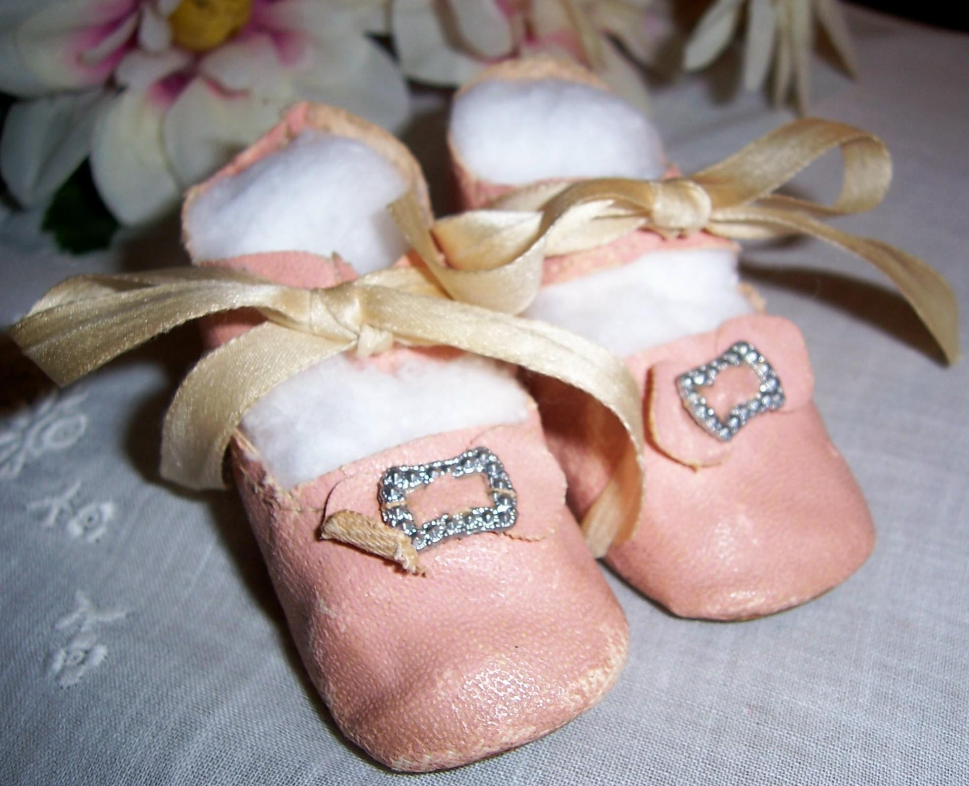 "Lovely Antique Pink Oil Cloth Doll Shoes. 2 3/4"" x 1 1/8"" for Med Size German or French Dolls"