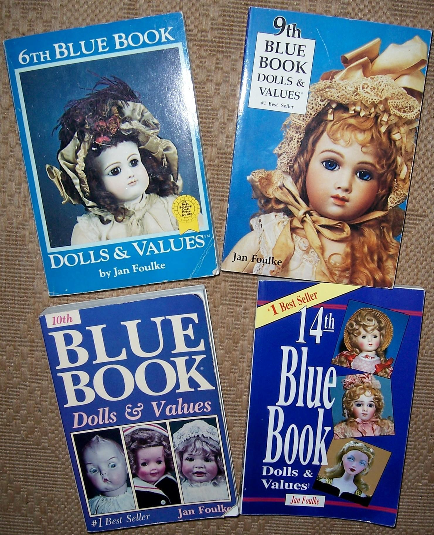 FOUR Blue Book Dolls & Values by Jan Foulke. 6th, 9th, 10th & 14th Editions.