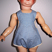 Romper Sun Suit for Med. Sz Doll. Blue & White Check Vintage Adorable