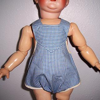 Romper Sun Suit for Med. Sz Doll. Blue & White Check Vintage Adorable