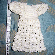 "Tiny Dress for 5"" to 6"" All Bisque Doll. Hand Crocheted White Cotton. Sweet"