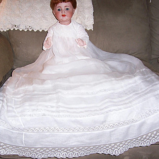 """Gorgeous 36"""" Christening Gown. Sheer White Cotton Lawn or Batiste for Baby, Doll or Bear."""