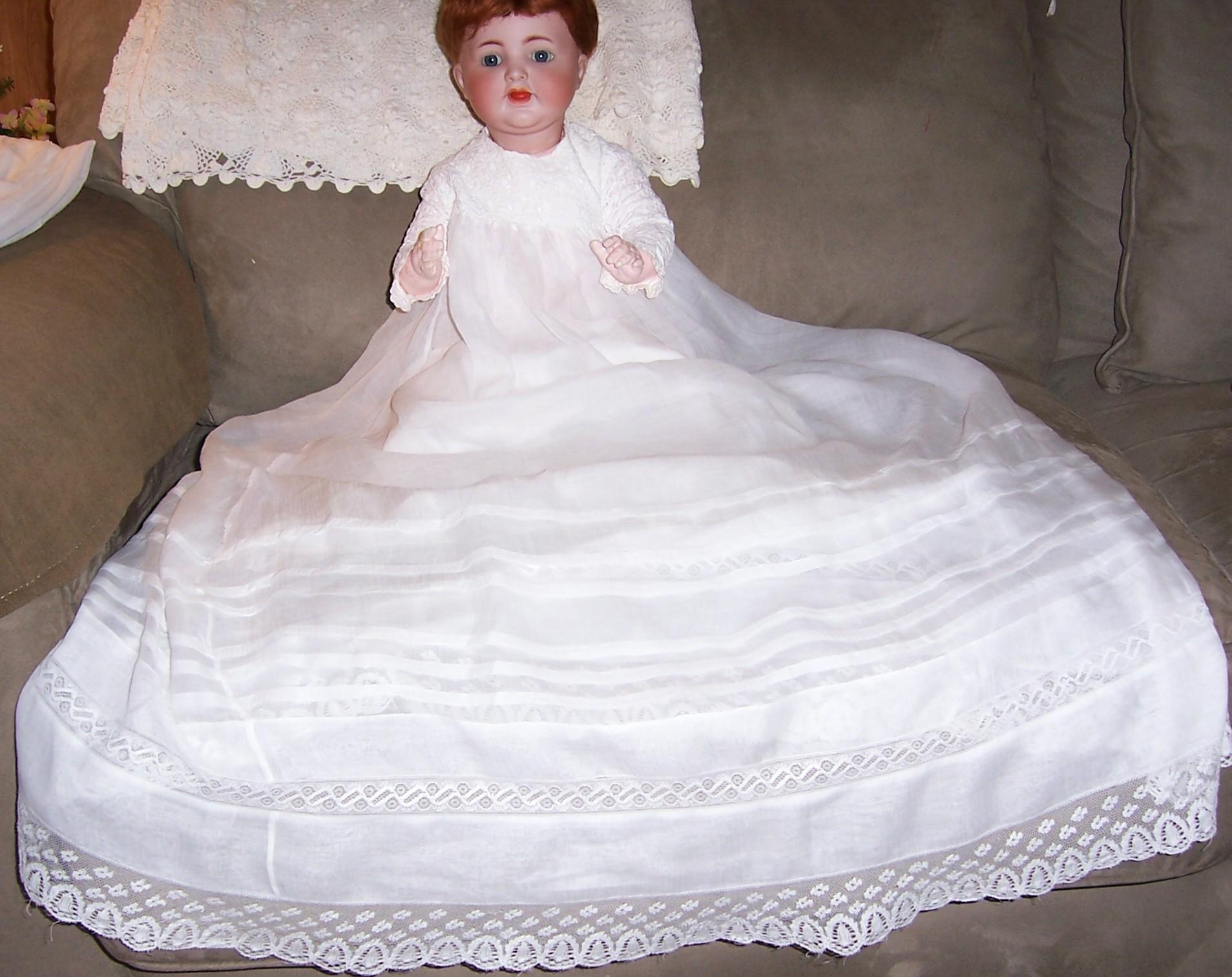 "Gorgeous 36"" Christening Gown. Sheer White Cotton Lawn or Batiste for Baby, Doll or Bear."