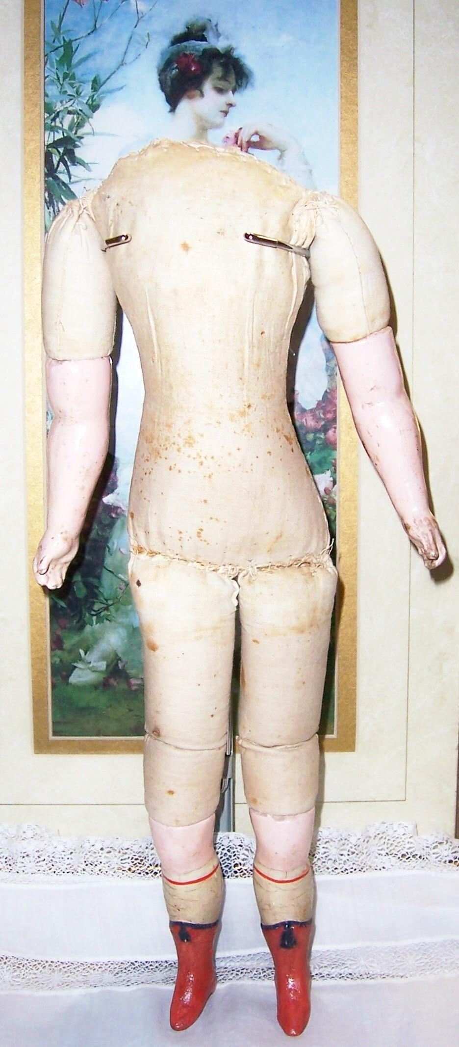 "SALE Antique 15"" Cloth Lady Doll Body w Compo Arms & Legs. Orange Boots for Papier Mache, Wax Over or Compo Head"