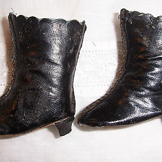 Nice Pair Tiny Antique Doll Boots w Heels for German French Fashion Lady & Antique Stockings