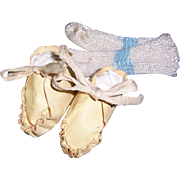 """Small Effanbee Dy-Dee Baby Shoes 1 5/8"""" x 7/8"""" for 11"""" Doll. Includes Socks."""