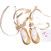 "Vtg Pink Satin Ballerina Slippers Shoes for 14"" Dolls, Mary Hoyer. With Fuzzy Soles. (B6)"
