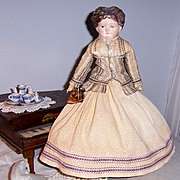 ON SALE Rare, Unique Antique Papier Mache Doll w Carved Wood Movable Hands & Feet. Holtz Masse. Cuno Otto Dressel