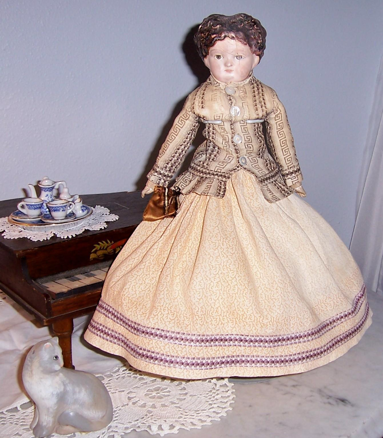 Rare, Unique Antique Papier Mache Doll w Carved Wood Movable Hands & Feet. Holtz Masse. Cuno Otto Dressel