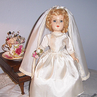 """Exceptional 14"""" Mary Hoyer 1930s Composition Doll in Bridal Costume. All Original. Don't Miss This One!"""