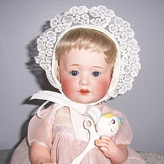 """Adorable 16"""" Antique Bisque Head Character Baby marked 'Nippon' on Orig. 5 Pc Compo Body. Display Ready"""