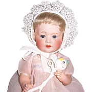 "Adorable 16"" Antique Bisque Head Character Baby marked 'Nippon' on Orig. 5 Pc Compo Body. Display Ready"