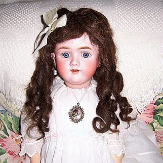 """Wig, Antique German Brunette Human Hair. Long 15"""" Tootsie Curls for 12"""" to 14"""" Doll Head."""