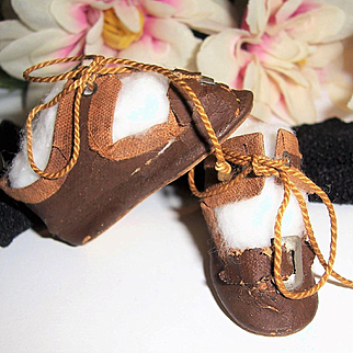 "SALE Small Pr 2"" Antique German Doll Shoes. Brown Oil Cloth w Orig. Ties & Buckles. Plus Stockings"