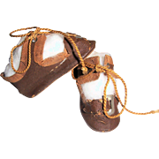 "SALE Small Pr 2"" Antique German Doll Shoes. Brown Oil Cloth w Orig. Ties & Buckles. Plus Stockings"