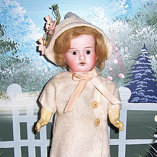 "Sweet 8"" German Gebrüder Knoch bisque socket head doll, mold 201. Cute Dress & Bonnet."