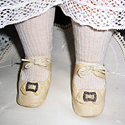 "Nice Pair White Oil Cloth Doll Shoes w Buckles 3"" x 1 1/4"" Older Vintage w Socks"