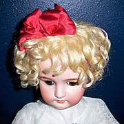"Antique Blonde Mohair Doll Wig 11""-12"" for German or French Bisque Head Dolls. Gorgeous"