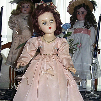 """ON SALE 18"""" Madame Alexander Composition Wendy Bridesmaid Doll 1940s. Orig. Tagged Gown"""
