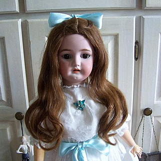 "14"" Wig for French or German Dolls. Original Hand Tied Antique Auburn Human Hair Wig with 16"" soft long waves."