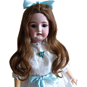 """14"""" Wig for French or German Dolls. Original Hand Tied Antique Auburn Human Hair Wig with 16"""" soft long waves."""