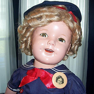 """27"""" Shirley Temple Flirty Eye 1935 Compo Doll All Original in Navy Sailor Costume 'Poor Little Rich Girl'"""