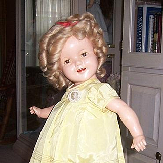 """22"""" Shirley Temple Composition Doll 1930s. With Original Wig, Onesie. Shoes & Socks"""