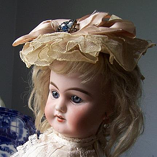 """Antique French Doll. Petite 14"""" Bisque Head on Original Compo Body by Jules Joseph Jeanson. Beautifully Dressed."""