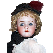 30 1/2 inch HEINRICH HANDWERCK Mold 109 Head by SIMON HALBIG. Gorgeous Big Doll w Character Face. Display Ready.