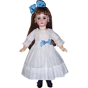 Lovely Dimity Dress + Chemise for 18-20 inch Antique French or German Doll. White on White Stripe