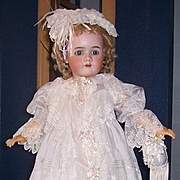 5 Pc Lavish Silk / Lace Doll Dress, Slip, Pantaloons, Bonnet, Purse. Seamstress Made, Pale Blue