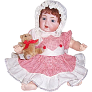 15 inch Antique Character Baby Doll by Morimura Brothers. Blue Eyed Red Head in Romper. Display Ready