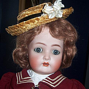 20 inch Walker by Kammer Reinhardt Simon Halbig. Antique German Bisque Head Doll. Orig Sailor Costume. Display Ready