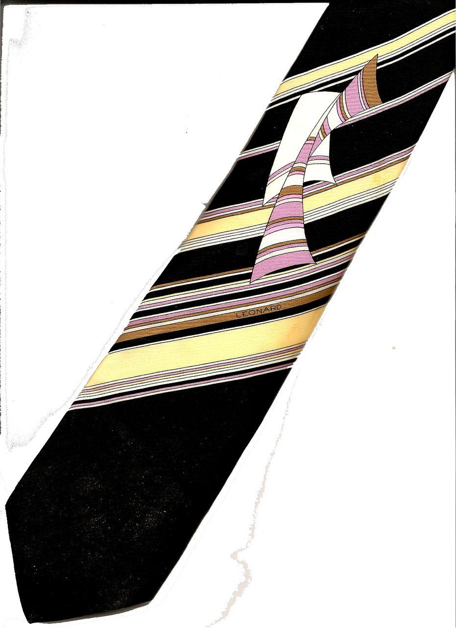 LEONARD of Paris Printed Silk Bias Stripe Tie with Overprint