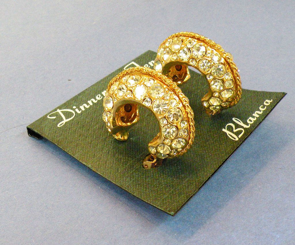 BLANCA Dinner at Ten Glitzy Clear Rhinestone Horseshoe Earrings