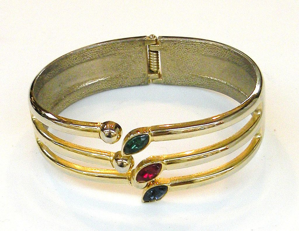 Tri-Colored Rhinestone Navette Hinged Clamper Bracelet