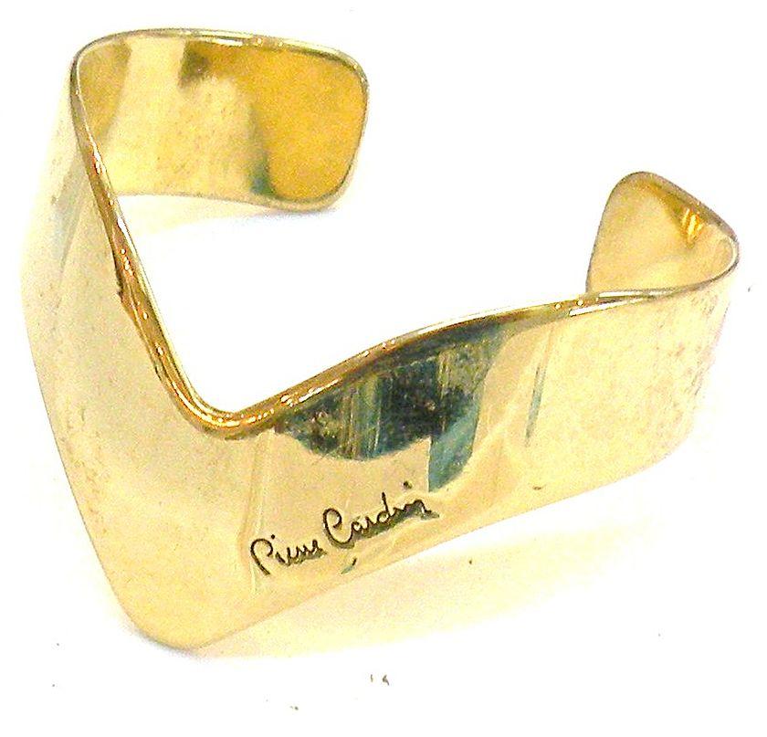 PIERRE CARDIN Modernist Sculptural Signed Cuff Bracelet