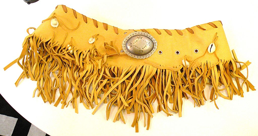 1980s Lambskin Fringed and Shell Detail Wrap Around Sexy Lady Belt