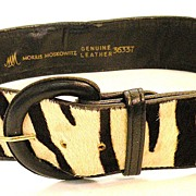 MORRIS MOSKOWITZ Black and White Zebra Skin Belt