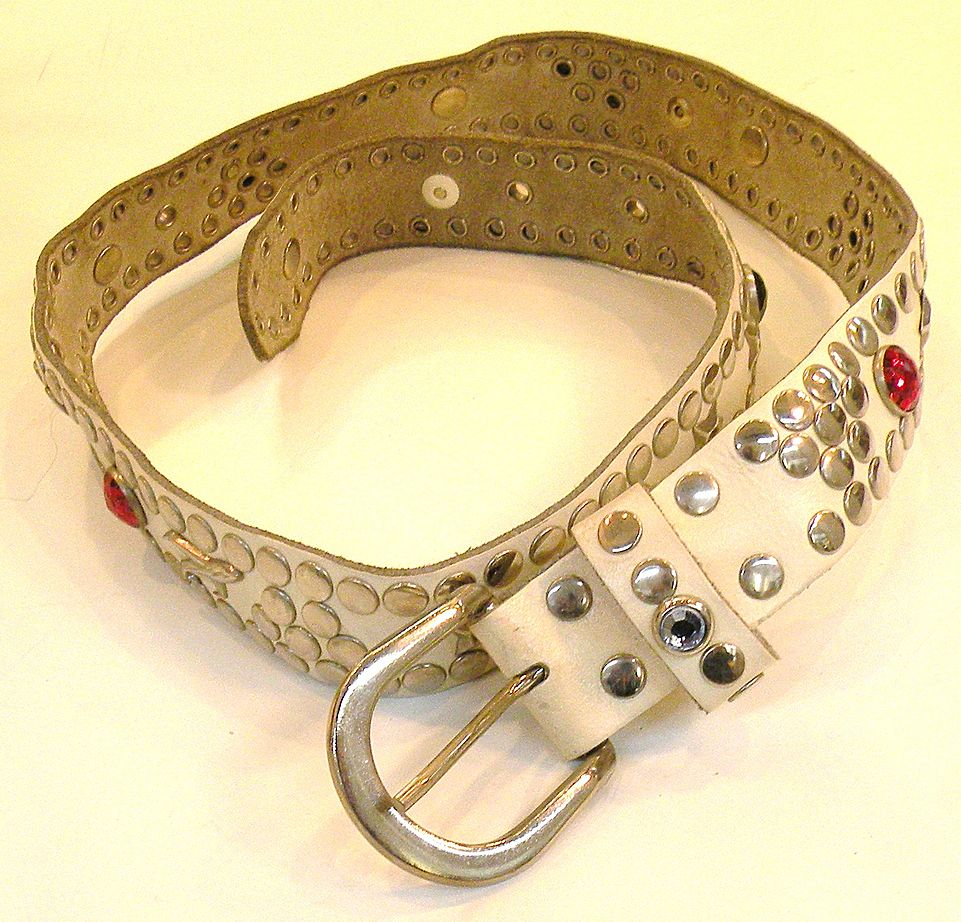 White Leather Rhinestone and Metal Grommet Belt