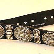 Black Western Leather Belt with Silver Tone Metal Details