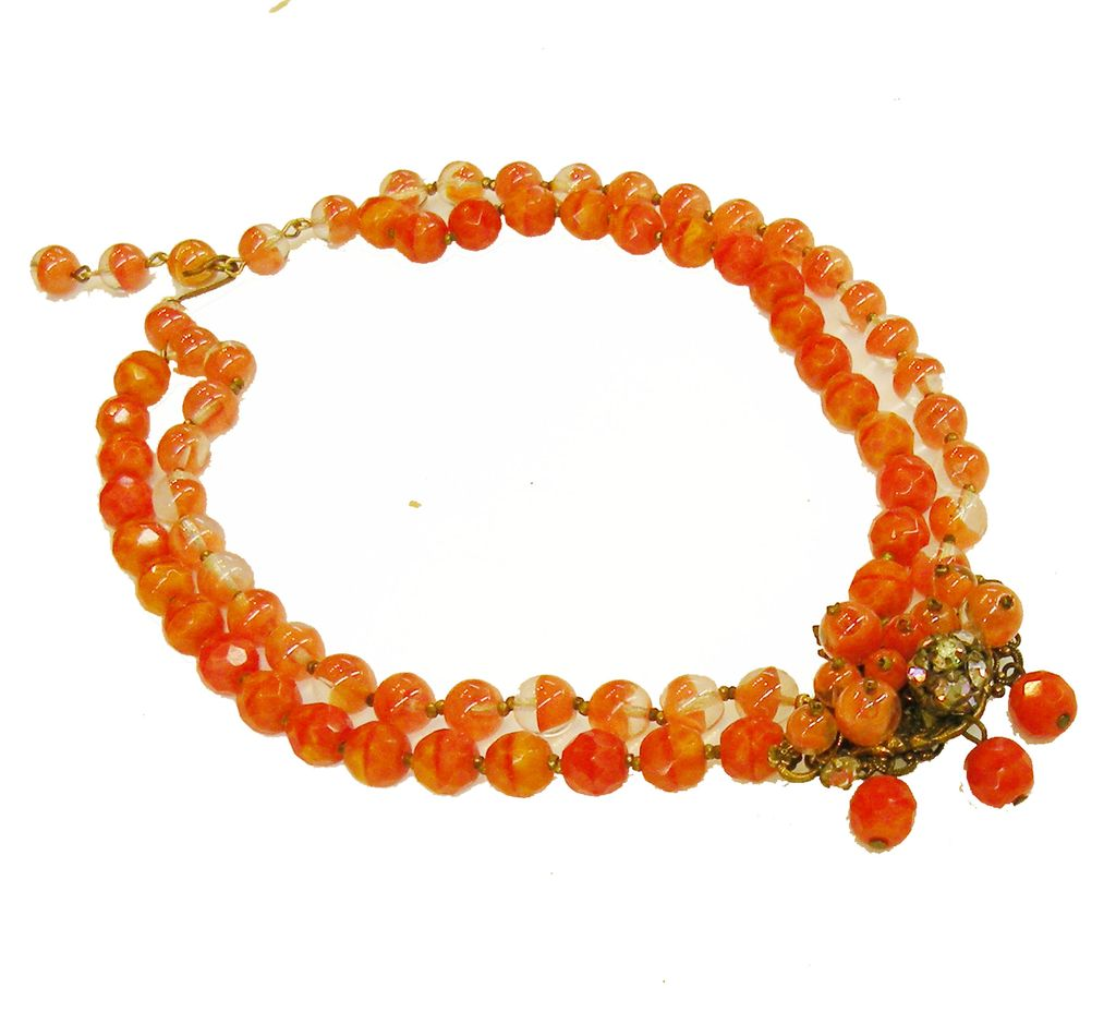 Movie Starlet Orange Art Glass and Beaded Necklace with Drop